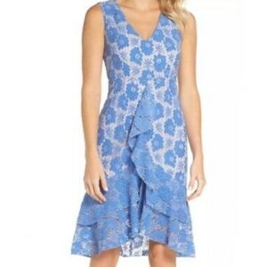 Chelsea28 Blue/Nude Ruffle Lace Sheath Dress M